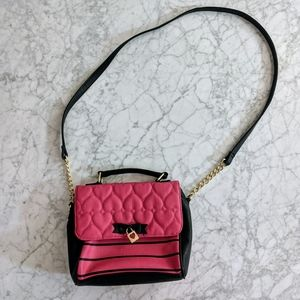 Betsey Johnson Quilted Hearts Crossbody Purse